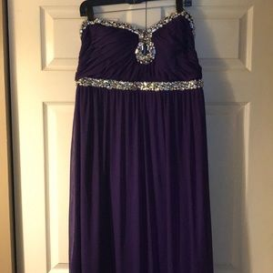 Long strapless purple gown NEW WITH TAGS